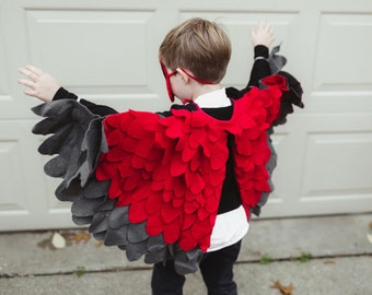 Bird Wing Costume Kids Red Bird Wing Cape Costume Kids Red Cardinal Wings Kids Bird Costume for Boys Dressup Toddlers Costume for Girls