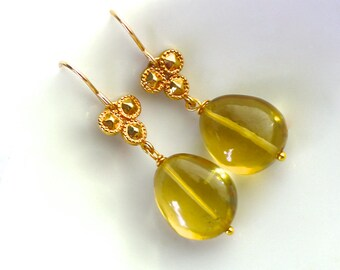 Polished Lemon Oro Verde Quartz Nuggets, 14k gold fill embellishments...