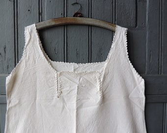 Women's nightdress, nightshirt, nightgown, with broderie anglais scalloped edges, embroidery, and monogram MV