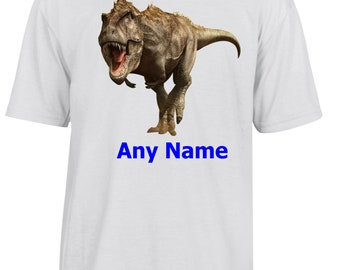 Personalised T.Rex/Dinosaur T Shirt  *Choice of name colours*