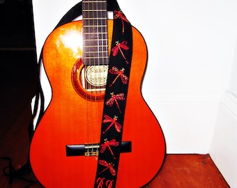 Red Dragonflies/ Custom Made Hand Embroidered Guitar Strap, Gild Silk Detail