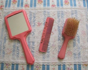 Vintage Pink Celluloid Baby Infant Mirror Brush and Comb Set in Box