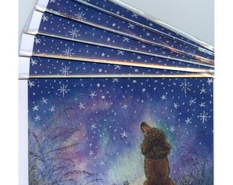 6 x Poodle dog holiday greeting cards - starry night
