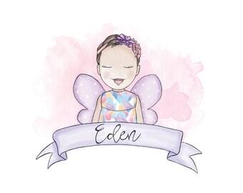 Custom Children's Portrait   Room Decor   Name Illustration   Gift   Child Personalized