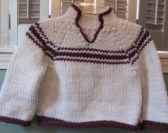 Sweater, Hand Knit Sweater-Child's - White with Burgundy Stripes-Soft, Warm Pullover Sweater