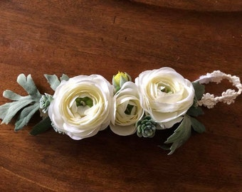 Antique White Floral Headband