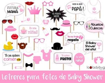 Letreros para fotos de Baby shower niña. Archivo para imprimir. Spanish baby shower. Spanish photo booth props baby shower girl.  PDF File.