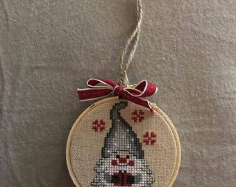 Santa Gnomb Cross Stitch Christmas Ornament