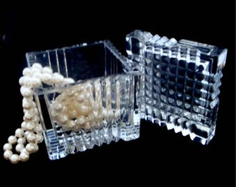 Vintage Trinket Box, Cut Glass Trinket Box, German Art Glass Trinket Box, Glass Jewelry Box