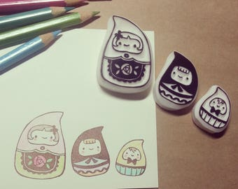 Sweet Matryoshka Dolls - Set of 3 Handcarved Rubber Stamps
