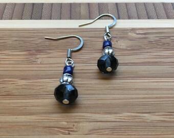 Navy Earrings, Czech Earrings, Women's Earrings, Crystal Earrings, Czech Crystal Earrings, Dangle Earrings, Drop Earrings, Simple Earrings