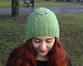 Owl Knit Hat, Women's Hat, Knitted Winter Hat, Green Hat, Soft Knitted Hat, Valentine's Day Gift Women