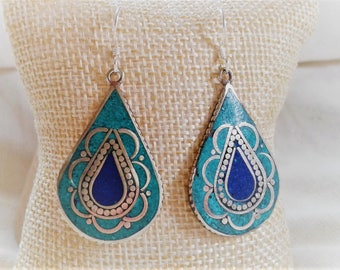 The Bohemian ethnic blue - earrings Boho Nepal Tibet