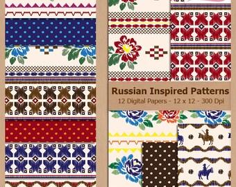 Digital Scrapbook Paper Pack - RUSSIAN INSPIRED PATTERNS - Instant Download