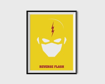The Reverse Flash Print - Minimalist, DC Comics, Comic Print, Superhero Wall Art