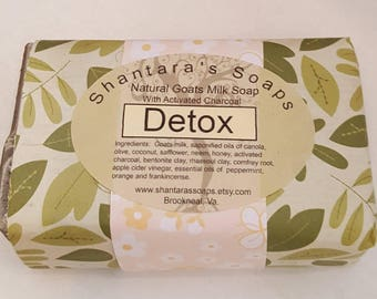 Detox, Acne Wash, Natural Goats Milk Soap, acne soap, activated charcoal, rhassoul clay, soap for skin issues, orange, peppermint, neem oil