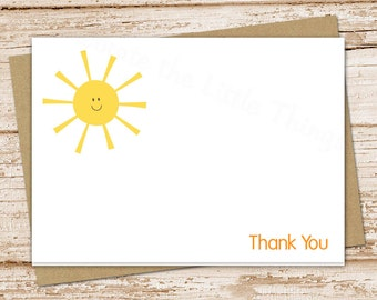 sun thank you cards . smiley sun . folded cards . you are my sunshine . note cards, notecards . stationery, stationary  set of 8