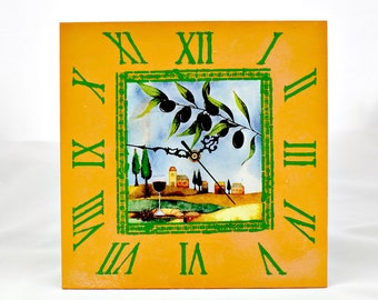 Wall Clock Greece/Wall clock olives/Wall clock for kitchen