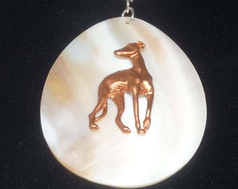 SueBero White Shell Pendant Copper Greyhound Dog, Braided White Leather Necklace