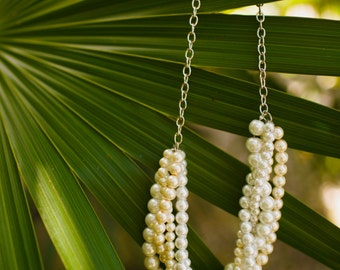 Ivory and white pearl twisted chunky statement pearl necklace bridesmaid bridal Custom order