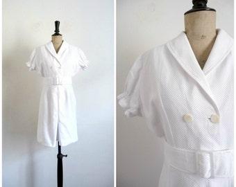 Vintage 1960s Midi Pencil Dress White Cotton Honeycomb / Small