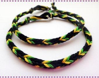 Handmade Black Green Yellow Friendship Bracelet Couple Bracelets Jamaica Set of 2