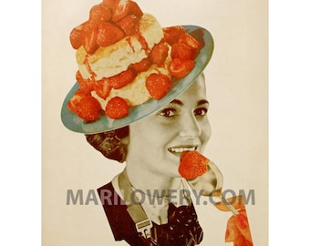 Whimsical Food Art Print, 8.5 x 11 Inch Paper Collage Print, Strawberries,  Retro Kitchen Decor, frighten