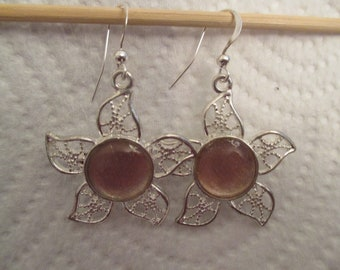 Gold and Silver Floral Filigree Earrings