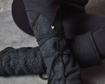 Warmly Lined Leg Warmers, Boot Cuffs ~ with Lacing and Brass Bells ~ Cotton, Fleece ~ black