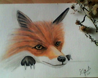 Original Curious Fox Mixed media watercolour painting A5 size