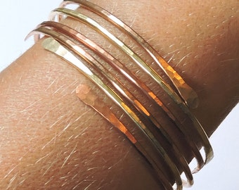 Bangles - Open End Bangle Bracelets - THREE Hammered Stackable Bangles - 1 Bronze 1 Brass 1 Copper - Mixed Metal Stacking Bangle