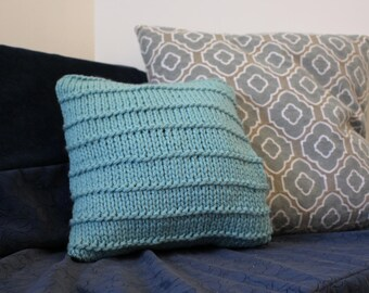 Teal Hand Knit Throw Pillow