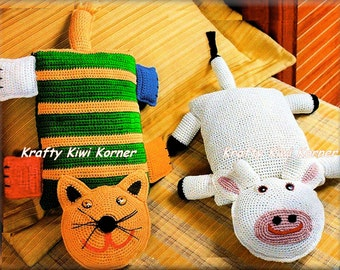 Crochet Cat and Cow Cushion Covers (with interiors)- Made to Order SALE 40% OFF Normal Price