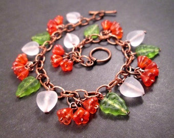Flower Charm Bracelet, Orange Blossoms, Colorful and Copper Beaded Bracelet, FREE Shipping U.S.