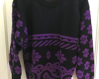 Vintage Helen Sue purple and black pullover crewneck sweater 100% acrylic made in the USA 1980s 1990s