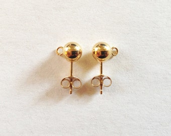 14k Yellow Gold 5mm Ball Post Studs with Open Rings (Backs Included)