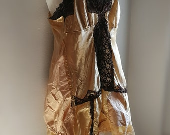 Burlesque gold steampunk dress for alternative wedding. Burning Man dress. Plus size xxl Halloween dress.
