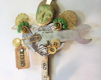 60TH BIRTHDAY *OR* Friend Gift, Giggle, OOAK Artdoll, Found Object Assemblage, 60 Birthday, Memories Gift, Memory Gift, Altered Art
