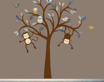 Boy Room Monkey Wall Decal, Nursery Wall Decal, Boy Tree Wall Decal, Kids Room Wall Decals, Monkey Wall Sticker, Denim Monkey Tree