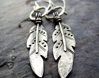 Feather Earrings || hand forged sterling silver bird feathers || southwest native american inspired metalsmith jewelry