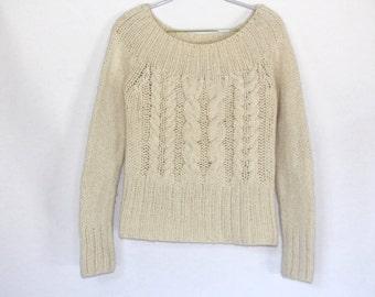 90s  Vintage Knit WOOL Ivory Sweater / Wool  Winter Sweater / Small Size Wool Sweater