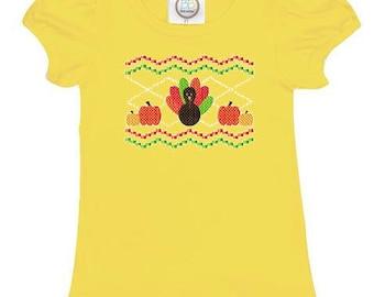 Turkey Pumpkin, Faux Smocking, Thanksgiving, Fall, Girls Ruffle Tshirt, Cotton Shirt, Harvest, Smocked