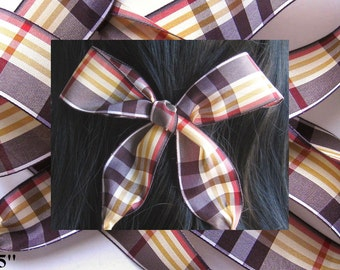 HAIR RIBBON-Brown Plaid Hair Ribbons-Hair Accessories, Hair Bows, Women's Hair Ribbons, Designer Accessories, Bad Hair Day, Hair Ties