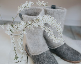READY to SHIP Boiled wool shoes from organic wool with rubber toe soles and knitted uppers size EU 36, 39/us womens 6, 8.5
