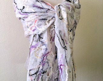 Grey White Merino Wool Silk Felted Evening Wrap Wearable Art Feminine Neckpiece  Bridal Lace Openwork Summer Wedding Shawl Long Silk Scarf