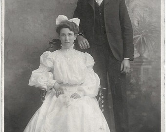 Old Photo Woman wearing White Dress Man wearing Suit Early 1900s Photograph snapshot vintage