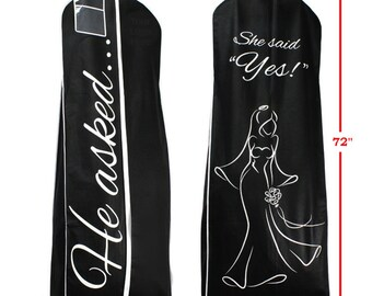 HE Asked SHE Said YES Black Breathable Wedding Gown Bridal Dress Garment Bag Extra Long