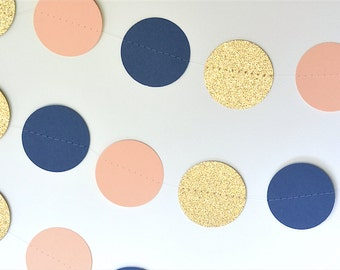 Navy, Peach and Glittery Gold Wedding Decor Garland Birthday Party Decor, Baby Shower Decor, Nursery, Wedding and Bridal Shower Decor, Etc!