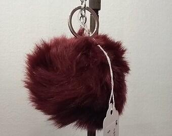Pom Pom Keychain - Maroon