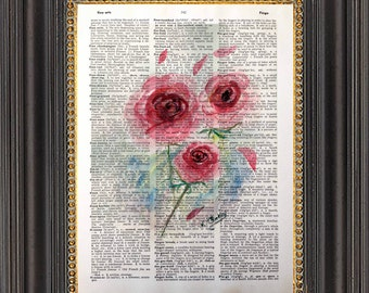 Pink Roses Wall Art, Watercolor Painting Print on Antique Dictionary Paper, Roses Art Print on Vintage Dictionary Page, Dictionary Art Print